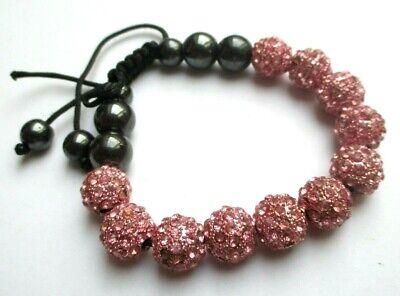 Capace Bracelet Cordelette Noire Réglable Perles Hématite Et Rose Cristaux Bijou 2336
