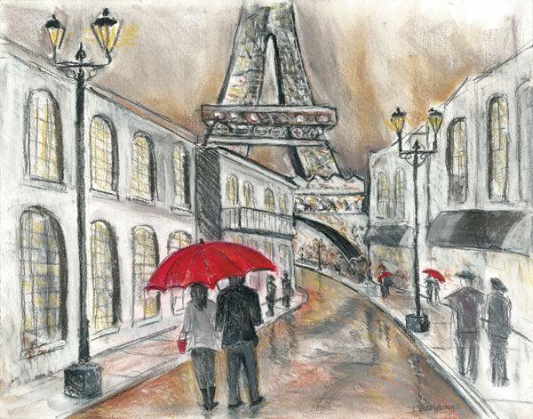 Todd Williams   pluie en Paris civière-image de l'écran Paire villes Tour Eiffel