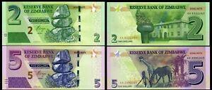 Zimbabwe-SET-2-Pcs-2-amp-5-Dollars-2016-Pick-99-Pick-100-UNC