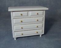 1/12th SCALE DOLLS HOUSE WOODEN CHEST OF DRAWERS IN WHITE