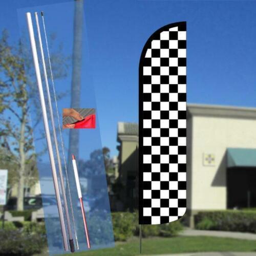 -Style Fea Checkered BLACK//WHITE Windless Polyknit Feather Flag 2.5 x 11.5 feet