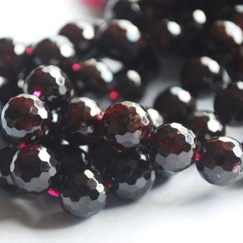 Grade A Natural Garnet Semi-precious Gemstone Faceted Round Beads 6mm 8mm 10mm