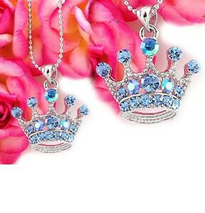 Clear Crown Princess Tiara Necklace Chain Crystal Silver Tone Children Pendant C