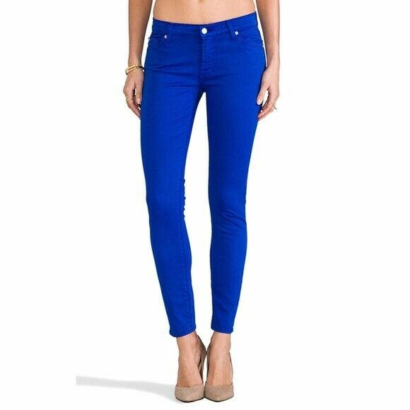 7 For All Mankind Super Skinny Slim Illusion Luxe Bleu Cobalt Neuf W27