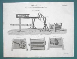 FARMING-Portable-Threshing-Mill-1820-ABRAHAM-REES-Print