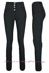Ladies-Black-High-Waisted-Trousers-Good-Quality-School-Work-Stretch-Skinny-Pants