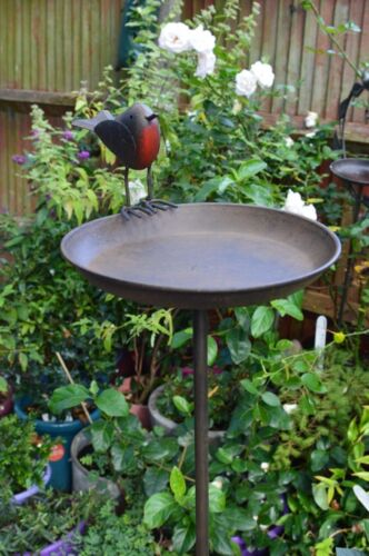 Delightful Robin all Metal BIRD TABLE BATH Great Mothers Day Gift for the Garden