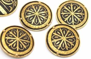 Rare-SET-OF-FOUR-Ornate-DAMASCENE-Gold-Buttons-w-GEOMETRIC-Motif