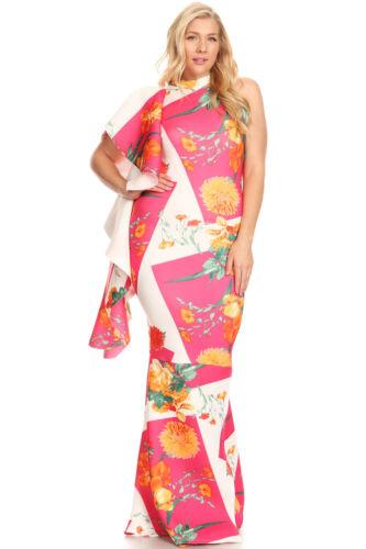 Plus Side Ruffle BodyCon Mermaid Pink White Gown Maxi Dress XL 1X 2X 3X
