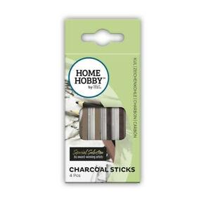 HOMEHOBBY-by-3L-Charcoal-Sticks-x4-Grey-Black-Brown-Dark-Brown-Art-Drawing