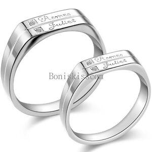 His / Hers Silver Stainless Steel Romeo Juliet Eternal ...