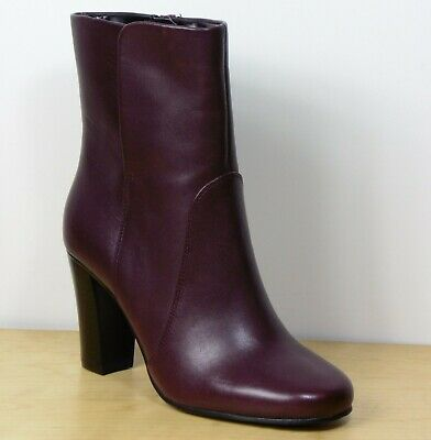 Marks /& Spencer Red Leather Stiletto Heel Ankle Boots UK Size 7.5