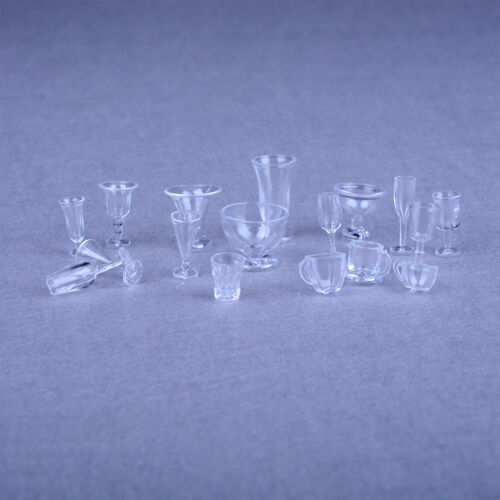 17pcs Dollhouse Miniature Ice Cream Cups Set Toy Kitchen Dining-Room Clear HIIJ