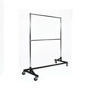 5 Ft Black Commercial Double Rail Rolling Z Rack Clothing