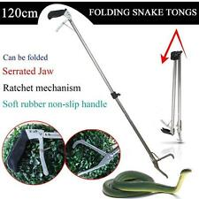 "47"" Reptile Snake Tongs Stick Grabber Foldable Catcher  Tool Heavy Duty"