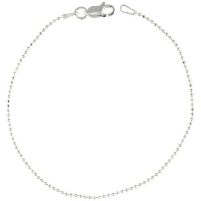 """Genuine 925 Sterling Silver Bead Ball Chain Necklace 16 18 20 /"""" Inch 1.2mm"""