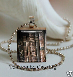 e125359ed12 Image is loading Antique-Library-Book-Necklace-Scrabble-Charm-LIBRARIAN-Gift -