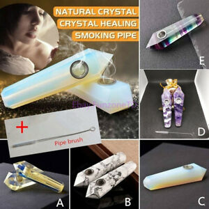 Details about Hand-polished Natural Quartz Smoking Crystal Pipe Cigarette  Holder Pipe