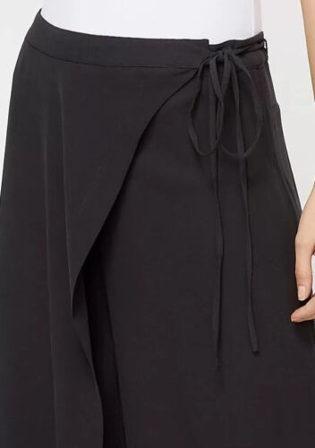 XL $278 NEW EILEEN FISHER BLACK SILK GEORGETTE CREPE WIDE LEG WRAP PANT