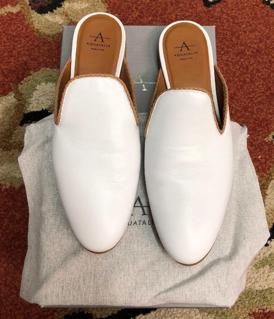 Aquatalia Emerson Nappa kvinnor Slidges vit läder Weathersafed  sz 9