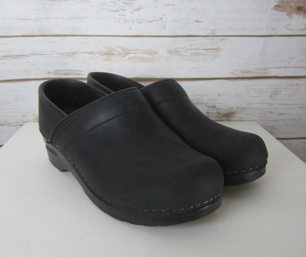 SANITA damen US 7 - 7.5 schwarz Oiled Leather Professional Clog EU 38 Slip On