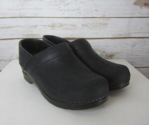 SANITA-Womens-US-7-7-5-BLACK-Oiled-Leather-Professional-Clog-EU-38-Slip-On