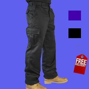 Mens-Combat-Cargo-Work-Trousers-Size-30-to-54-With-KNEE-PAD-POCKETS-BKS