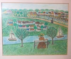 vintage-original-Allan-Mitelman-Folk-Art-mixed-media-landscape-painting-drawing
