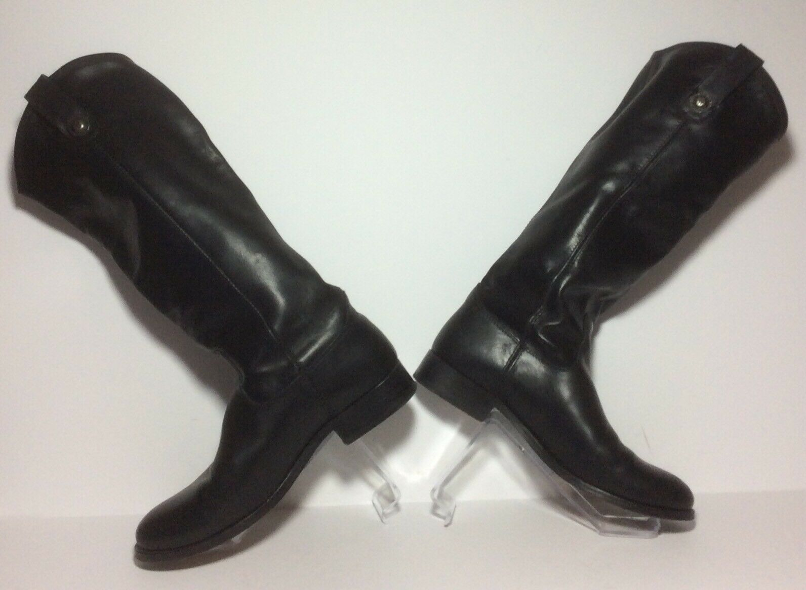 Frye Ladies Melissa Button Tall Boot Black Leather Size 6.5 GUC