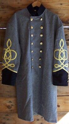 civil war confederate reenactor artillery shell jacket with 3 row braids 52