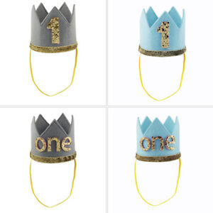 Newborn Baby Boy Girl 1st First Birthday Crown One Year Party Hat Headband Tiara