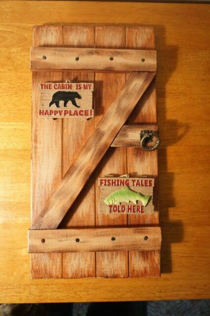 Rustic Fishing Lodge Country Primitive Log Cabin Door Home Decor Wood Sign Set