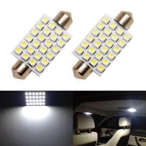 2-x-White-LED-Interior-Map-Dome-Trunk-Light-42mm-578-211-2-212-2-Festoon-Bulbs