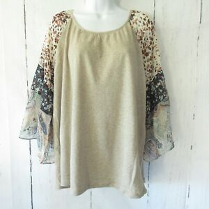 New-Umgee-Top-XL-Oatmeal-Beige-Ruffle-Bell-Sleeve-Floral-Boho-Peasant-Plus-Size