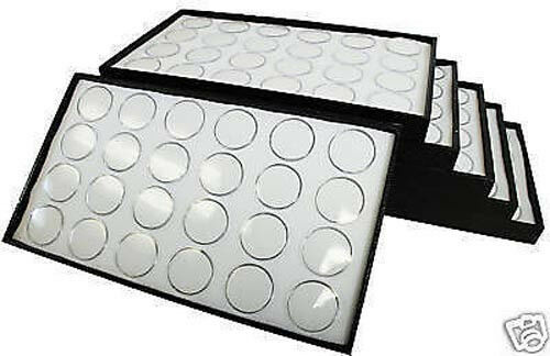 50 Gem Jars White Display Tray Travel Case Acrylic Lid