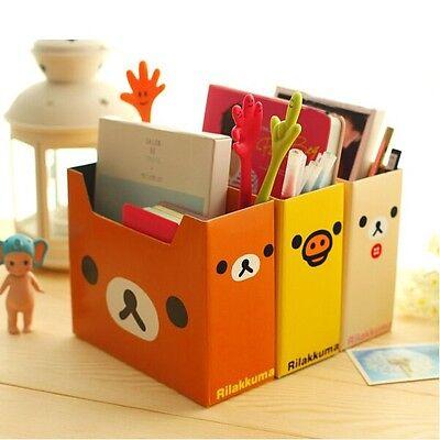 """Rilakkuma"" Pack of 3 Storage Box Files Document DIY CardBoard Books Organizer"