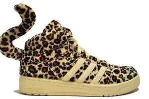 Image is loading AUTHENTIC-Adidas-JEREMY-SCOTT-LEOPARD-OBYO-Trainers-bones-