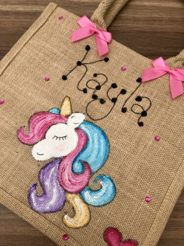 Personalised Glitter Unicorn Jute Bag Birthday Easter Christmas Gift 23cm X 23cm