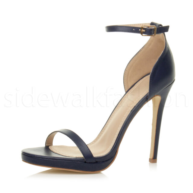 15c9b9bed Womens Ladies High Heel Barely There Strappy Party PEEP Toe Shoes ...