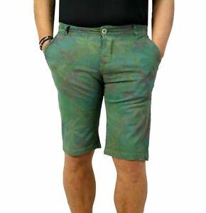 Bermuda-Uomo-Chino-Cargo-Pantalone-corto-Floreale-Shorts-Casual-slim-fit-Verde