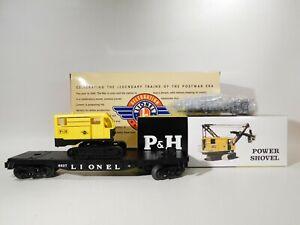 Lionel-O-Gauge-6827-Flatcar-W-Harnischfeger-Power-Shovel-6-29485-C-129-TOTES1