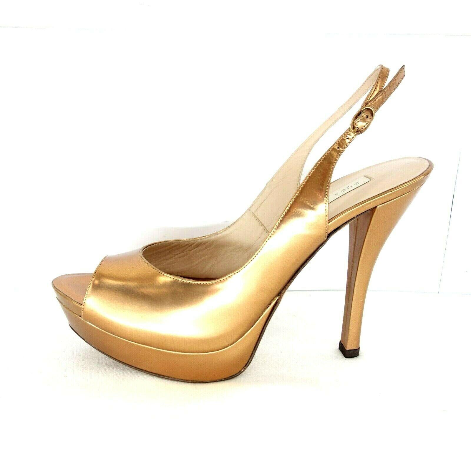 Pura Lopez Lopéz Chaussures Femmes Dames Escarpins Sandales Bronze Cuir Neuf