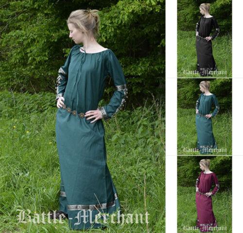 Battle Merchant Medioevo-abito Glynis con campane Medioevo vestito morbide