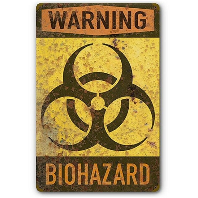 Biohazard Warning Biological Hazard Symbol Tin Metal Sign Vintage