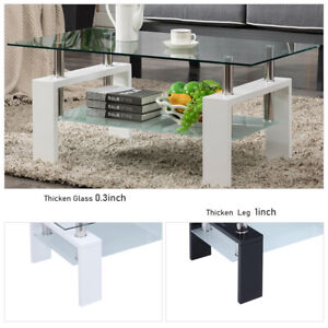 New 2 Tier Glass Coffee Table Wood Shelf Living Room Furniture Rectangular US