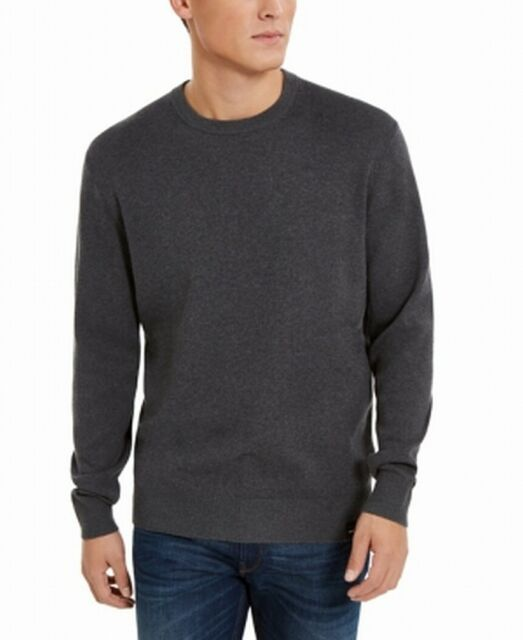 DKNY Mens Sweater Gray Size 2XL Regular Fit Crewneck Pullover Solid $79 #046