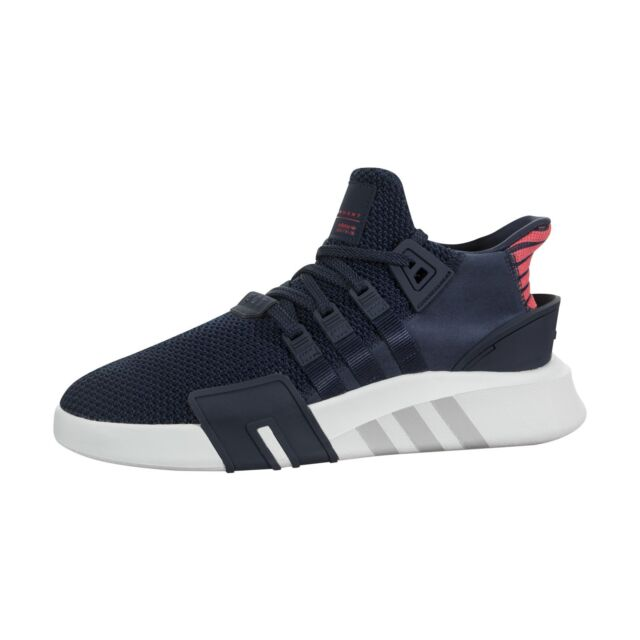 detailed look eeafd 63abf adidas EQT Bask ADV Mens CQ2996 Navy Coral Knit Suede Athletic Shoes Size  11.5