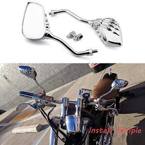 Ein Paar Motorrad Rückspiegel 10mm Chrom Skelett Spiegel Schwarz Neu