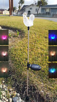 Set Of 2 Garden Clear Acrylic Rooster Solar Yard Stick Color Change Light
