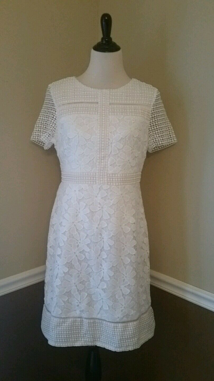 NEW  129 Modcloth Dress 12 White Floral Lace women Ricco Offbeat Brunch Retro